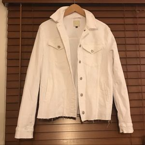 Joe's Jeans White Denim Jacket with Raw Hem